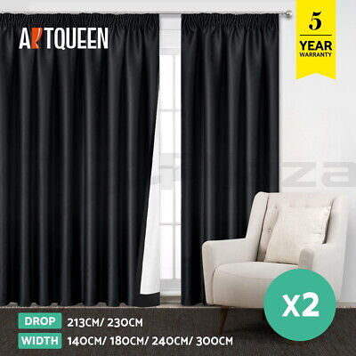 Art Queen 2X Blockout Curtains Pinch Pleat Pleated Blackout Room Darkening Black