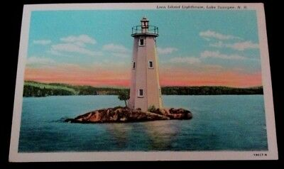 Souvenir 1930s linen postcard of Loon Island Lighthouse, Lake Sunopee NH