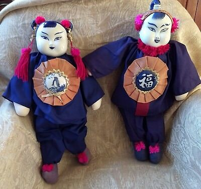 Vintage PAIR ASIAN DOLLS PORCELAIN HEAD BLUE WHITE SOFT BODY, 16 IN
