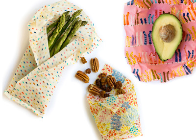 The Original Eco Food Wraps Three Pack - Beeswax - Reusable Wraps - BEST QUALITY