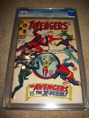 Avengers #53 Nice CGC 7.0 Hot Key Classic Cover X-men 45 Tie-In Black Panther!
