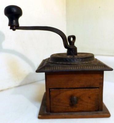 Antique Wood & Cast Iron 'Imperial' Home-Use Coffee Grinder c1900