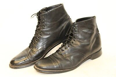 639433da6af STACY ADAMS Vintage Mens 10 D Black Leather Cap Toe Ankle Boots 111727 nt