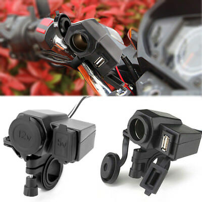 Black 12V GPS Socket Charger Motorcycle & ATV Waterproof USB Power Hot