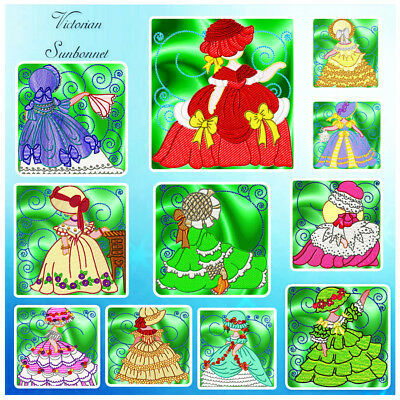 Victorian Sunbonnets 12 Machine Embroidery Designs Cd 3 Sizes