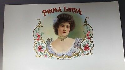 Original Old Antique – Prima Lucia-Inner Cigar Box Label - Stone Lithograph