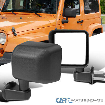 Jeep 07-18 Wrangler JK Black Manual Side Door View Mirrors Brackets Left+Right
