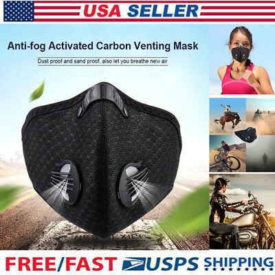 Air Purifying Face Mask Mouth Muffle Carbon Filter Anti Dust Haze Fog Respirator