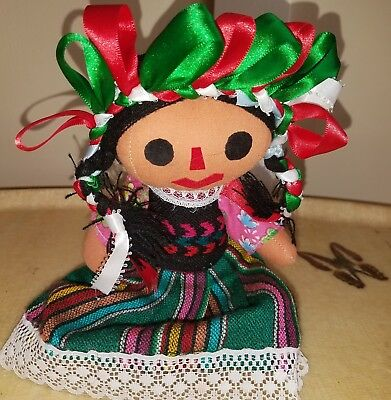 "Vtg Mexican Cloth Doll BIG Guatemalan Worry Doll 11"" tall ADORABLE CLEAN JOINTED"