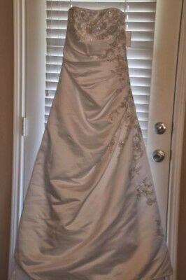 David's Bridal A-line Side Drape Strapless Gown