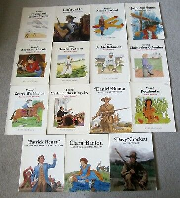 Lot Of 15 First-Start Kids Biography Books Lincoln, Washington, Boone Ages 4-8