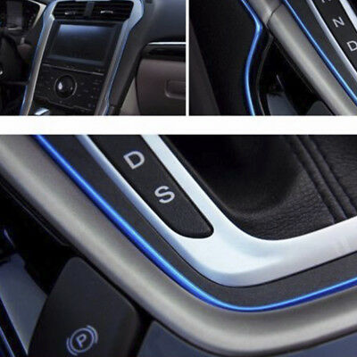 5M Universal Auto Accessory Car Interior Gap Decorative Blue Line Chrome Shiny