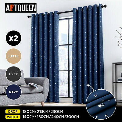 2x Blockout Curtains Eyelet Blackout Window Curtain Pair 3 Layer Room Star Panel