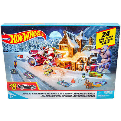 Hot Wheels Advent Calendar with 8 Die-Cast Cars NEW