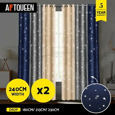 Art Queen 2x Star Blockout Blackout Curtains Room Darkening Eyelet 240cm/ 3 CLR