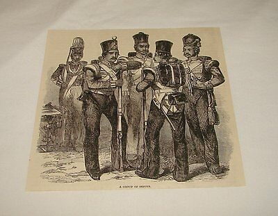 1886 magazine engraving ~ GROUP OF SEPOYS, Persian Soldier