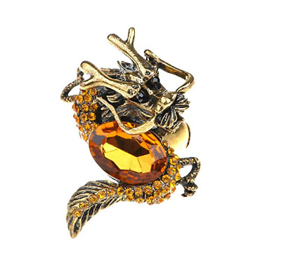 Golden Topaz Color Rhinestone Vintage Medieval Fantasy Mystic Dragon Zodiac Ring