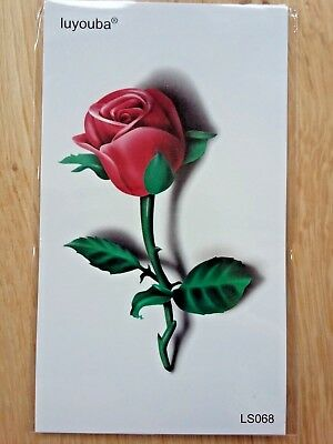RED ROSE TEMPORARY TATTOO 110 X 60mm LS068