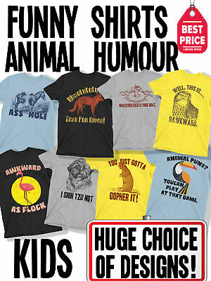 Kids Boys And Girls FUNNY Novelty ANIMAL PUN Slogan T-Shirts