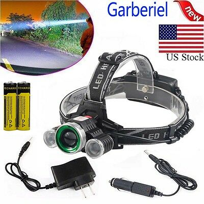 150000LM 3 Head T6 LED 18650 Headlamp Headlight Flashlight Zoom Head Torch Light