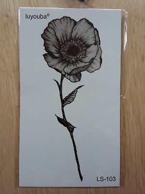 POPPY TEMPORARY TATTOO 110 X 60mm LS103
