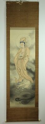 "Aug106 Japanese Edo Hanging Scroll""kwan-Yin&dragon "" Hand Painted Signed"