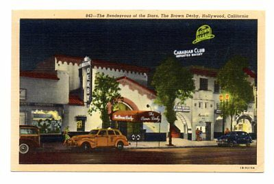 The Brown Derby, Hollywood, CA 1940s Linen Postcard