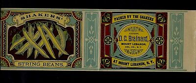 1880s Victorian Canning Label SHAKERS' STRING BEANS from Mount Lebanon, New York
