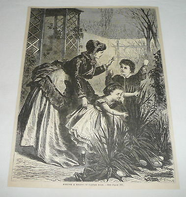 1879 magazine engraving ~ FINDING A HOARD OF EASTER EGGS