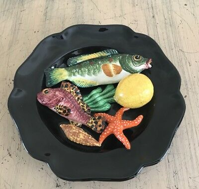 Amazing Vintage French Ceramic Plate With Fish Seascape In Relief Majolica Style
