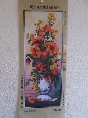 """Tapestry Canvas """" Les Pavots  """" Vase of poppies  New by Royal Paris"""