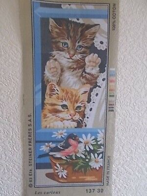 """Tapestry Canvas """" Les Curieux """" Cats watching a bird  New by Royal Paris"""