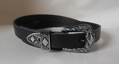 Western Style Genuine Leather Belt. 18mm Wide *Black* Comes in S,M,L,XL!