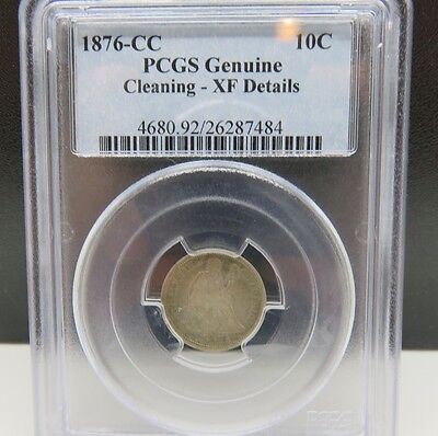 Rare 1876 Cc Seated Dime Pcgs Graded Xf Details Cleaning Silver Carson City