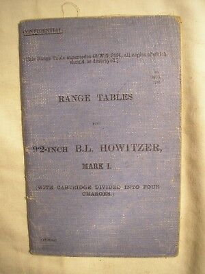 British Army Royal Artillery 9.2 inch Howitzer Range Tables Manual 1917 History