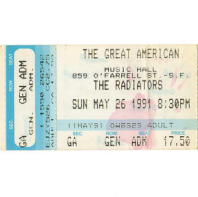 THE RADIATORS Concert Ticket Stub GAMH 5/26/91 SAN FRANCISCO TOTAL EVAPORATION