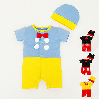 Baby Boys Girls Disney Animal Summer Costume Outfit Romper Clothes Hat Set 0-18M
