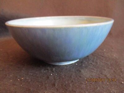 C.D.NOWELL PRESTBURY STUDIO ART POTTERY BLUE LUSTRE FOOTED BOWL c.1950's EX