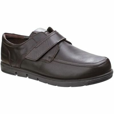 Mens Hush Puppies Dark brown leather Touch Fastening Velcro shoes Size 12 WIDE
