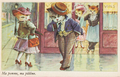 FANCY DRESSED FRENCH CATS ~ COMICAL Humor ROMANCE Vintage POSTCARD France