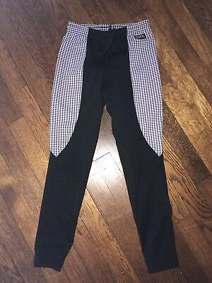 Girls Kerrits Flow Rise Riding Tights Breeches Pants Houndstooth Print L 12 14