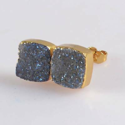 10mm Square Natural Agate Titanium Druzy Stud Earrings Gold Plated H120423