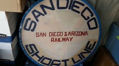 Wow! San Diego & Arizona Eastern Railway Observation Car Drumhead Sign, Glass