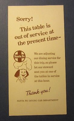 Old Vintage - SANTA FE RAILWAY - Sorry This Table OUT OF SERVICE - Train CARD