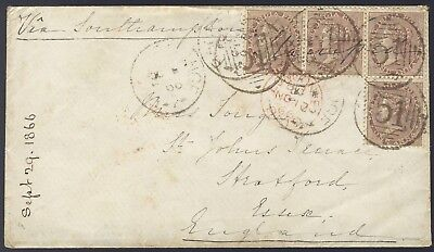 India 1866 QV 4a cover from Backergunge to Dublin via Southampton