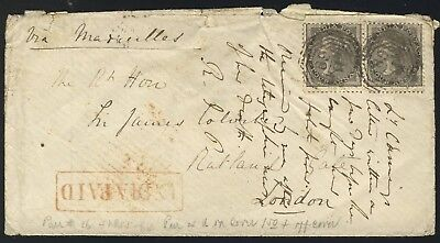 India 1861 QV 8a cover from Darjeeling to UK via Marseilles
