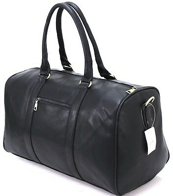 Unisex Faux Leather Holdall Gym Luggage Duffel Cabin Travel Case Weekend Bag