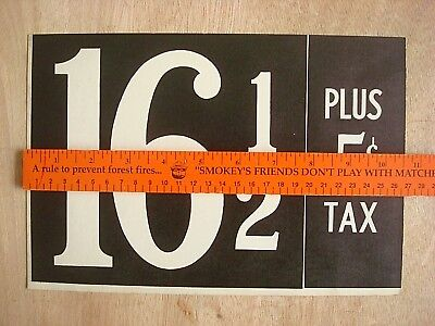 Vintage Original Gas Station Price Card, Texaco,gulf,mobil Gas,esso,amoco,shell