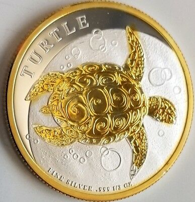 NEW  2017 Niue 1/2 oz .999 Silver Coin $1 Hawksbill Turtle , 24k Gold Gilded