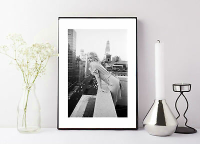 Marilyn Monroe on a Balcony  in new york, black and white print/poser